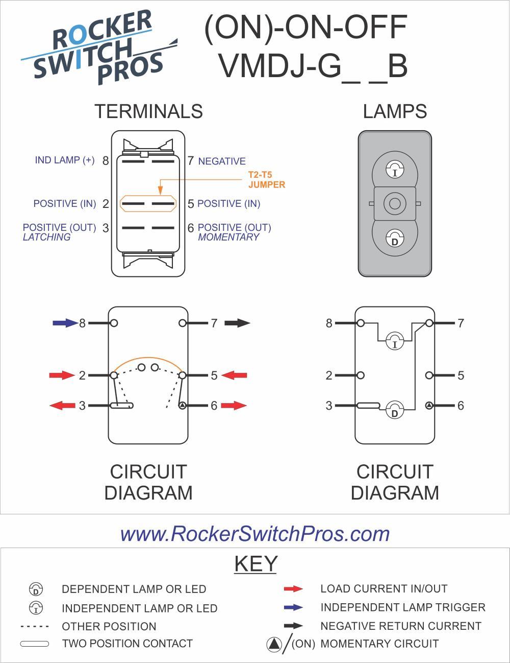 VMDJG66B | Engine Rocker Switch | (ON)-ON-OFF | Rocker Switch ProsRocker Switch Pros
